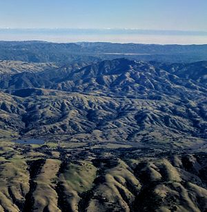 Lick Observatory - Lick Observatory and Mount Hamilton, looking east on takeoff from Mineta San José International Airport