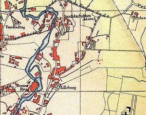 Lilleborg - 1887 map showing Lilleborg and Bentse Brug.