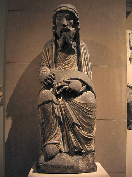 A limestone statue depicting Aaron, brother of Moses in the Old Testament, from the Cathedral of Noyon, c. 1170 Limestone sculpture of Aaron.jpg