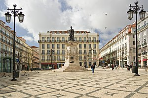 Camoens Square in Lisbon, Portugal