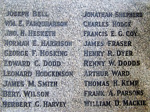 Titanic Engineers' Memorial - List of the 35 engineer officers who died in the