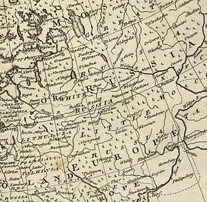"Little Russia - A fragment of the ""new and accurate map of Europe collected from the best authorities..."" by Emanuel Bowen published in 1747 in his A complete system of geography. Left-bank Ukraine is shown as ""Little Russia"". Great, White, and Red Russias are also seen, and the legend ""Ukrain"" straddles the Dnieper river near Poltava."