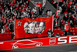 Banner of Liverpool's supporters with Bill Sha...