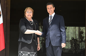Chile–Mexico relations - Chilean President Michelle Bachelet and Mexican President Enrique Peña Nieto; 2015