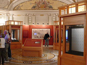 Waldseemüller map - A facsimile of the Waldseemüller map is prominently displayed in the Treasures Gallery of the Library of Congress in Washington, DC.
