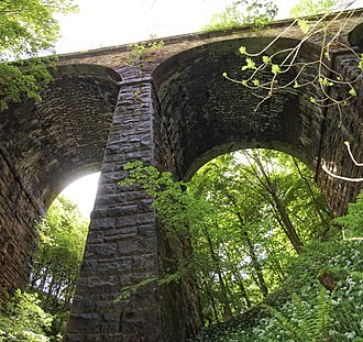 Beeching cuts - The overgrown viaduct across Lobb Ghyll on the Skipton to Ilkley Line in Yorkshire, built by the Midland Railway in 1888 and closed in 1965