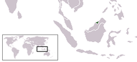 A map showing the location of Brunei