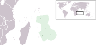 A map showing the location of Mauritius