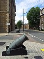 London-Woolwich, Royal Arsenal, cannons at Cadogan Rd - Arsenal Way.jpg