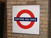 "London Underground ""Roundel"" sign at Notting Hill Gate"