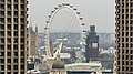 London eye between Barbican towers, from the terrace of the White Collar Factory, Old Street, 2018-09-22.jpg