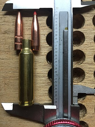 "6.5mm Creedmoor - Only the very longest 140gr bullets will even reach the neck shoulder junction. Thanks to the relatively long neck it can be reloaded with long target bullets without placing the base of the bullet below the neck. This eliminates the ""donut"" problem seen by many cases that get reloaded over 20 times. Right to left: is a 123gr A-Max and Remington 140gr. Calipers are set to magazine length."