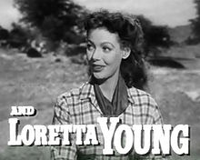 Loretta Young in Along Came Jones trailer.jpg