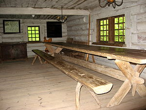 Trestle table - Long table and bench in the Latvian Ethnographic Open Air Museum
