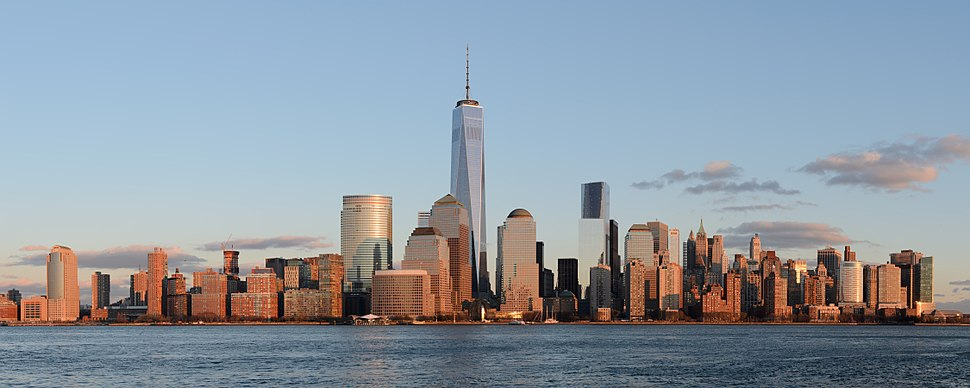 View of Lower Manhattan at sunset, from Jersey City, New Jersey. One World Trade Center is the tallest skyscraper in the Western Hemisphere.