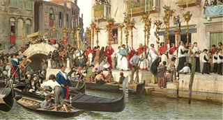 Bridge on the Riva degli Schiavoni - A Procession in Venice