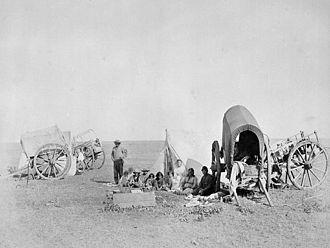 Métis buffalo hunt - Métis camp in 1874