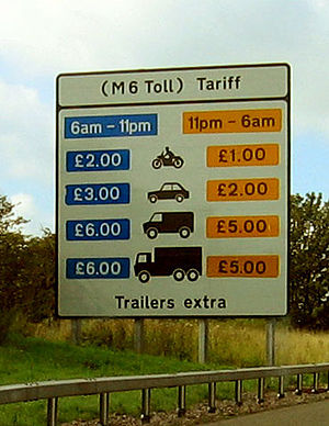 Motoring taxation in the United Kingdom - Prices for the M6 toll.
