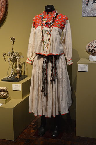 Rarámuri people - Traditional Tarahumara female dress displayed at the Museo de Arte Popular.