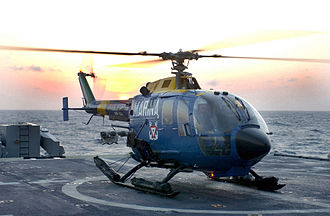 MBB Bo 105 - A Mexican Navy Bo 105 on board USS Yorktown, 2002