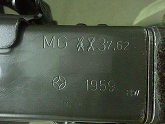 Rheinmetall MG 3 - Markings on an original MG 42 retrofitted to a MG 3 in 1959