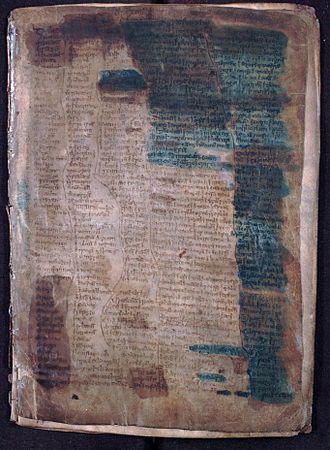 MS 1467 - MS 1467, folio 1, recto. Note the stains which are the result of 19th century attempts at rendering the text more legible.