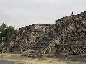 Teotihuacan - Platform along the Avenue of the Dead showing the talud-tablero architectural style