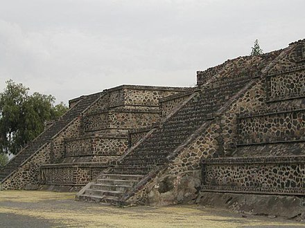 Platform along the Avenue of the Dead showing the talud-tablero architectural style MW-Teotihuacan8.jpg