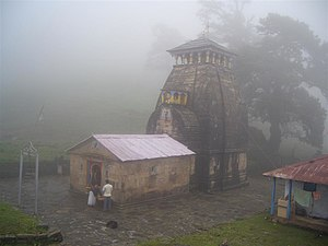Madhyamaheshwar - Early morning view of the temple in foggy weather