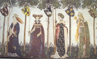 Castello della Manta - Detail of the fresco showing 4 of the female counterparts to the Nine Worthies