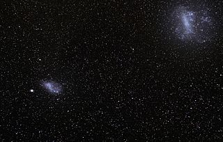 Magellanic Clouds two irregular dwarf galaxies orbiting the Milky Way galaxy within the Local Galactic Group