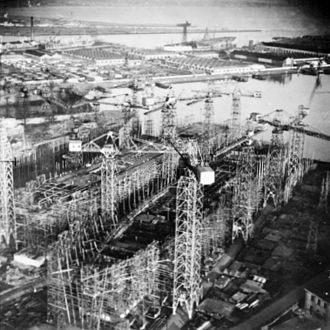 1942 Design Light Fleet Carrier - Magnificent (left) and Powerful under construction at Harland and Wolff in 1944