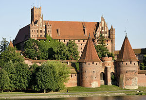 Brick Gothic - Malbork Castle in Poland is Europe's largest medieval brick gothic complex. After the defeat of the Teutonic Order, it became a residence of the Polish kings.