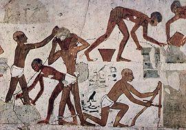 Trabajadores egipcios. Pintura en la tumba de Rejmira.
