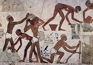 Sackcloth - Workers in ancient Egypt wearing loincloths, circa 1500-1450 bce