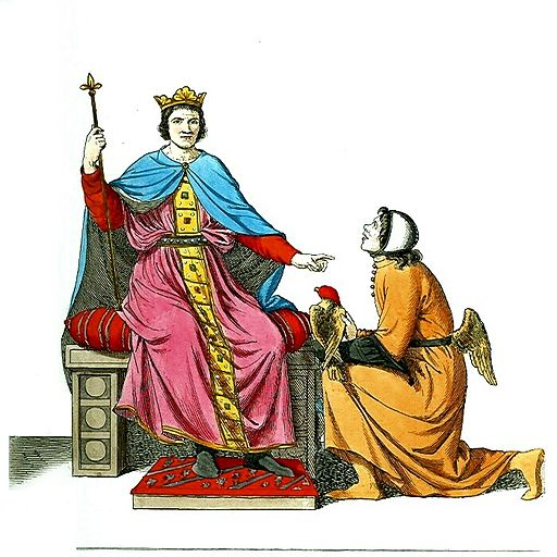 Man or King on Throne with Kneeling Man (Supplicant)