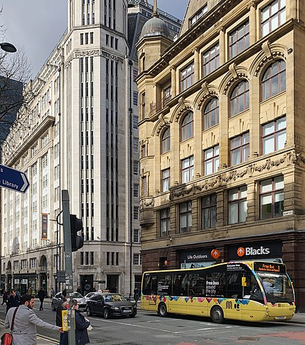 Free buses operate on three routes around Manchester city centre. Each bus departs every 10 minutes, Monday to Saturday. Manchester free bus.jpg
