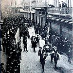 1901. Tradicional manifestación radical anual hacia la Recoleta por la Revolución del 90