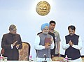 Manmohan Singh releasing the history of the Reserve Bank of India, in Mumbai on March 18, 2006. The Governor of Maharashtra, Shri S.M. Krishna and the Chief Minister of Maharashtra, Shri Vilasrao Deshmukh are also seen.jpg