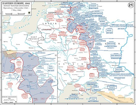 The Eastern Front in the winter of 1941-1942. Map Soviet 1941 Winter counteroffensive.jpg