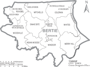 Map of Bertie County, North Carolina With Municipal and Township Labels