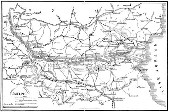 Map of Bulgaria from the Russian military encyclopedia (Spb, 1911).png