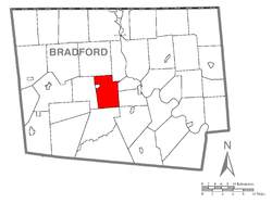 Map of Bradford County with Burlington Township highlighted