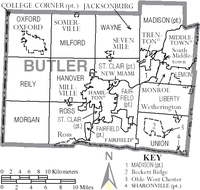 Map of Butler County Ohio With Municipal and Township Labels.PNG