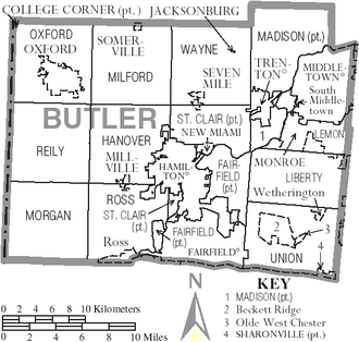 Butler County, Ohio - Map of Butler County, Ohio With Municipal and Township Labels