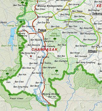 Champasak Province - Image: Map of Champasak Province, Laos