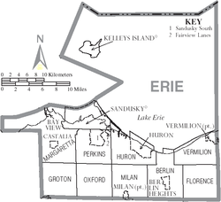 Map of Erie County Ohio With Municipal and Township Labels.PNG