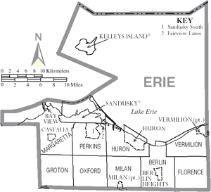 Erie County, Ohio - Map of Erie County, Ohio With Municipal and Township Labels