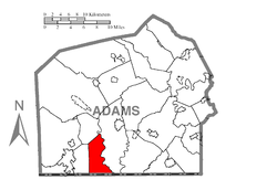 Map of Adams County, Pennsylvania highlighting Freedom Township
