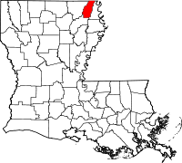 Map of Louisiana highlighting West Carroll Parish